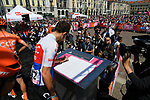 Czech Champion Josef Cerny (CZE) CCC Team at sign on before the start of Stage 12 of the 2019 Giro d'Italia, running 158km from Cuneo to Pinerolo, Italy. 23rd May 2019<br /> Picture: Gian Mattia D'Alberto/LaPresse | Cyclefile<br /> <br /> All photos usage must carry mandatory copyright credit (© Cyclefile | Gian Mattia D'Alberto/LaPresse)