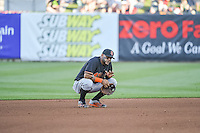 Jonathan Villar (45) of the Fresno Grizzlies during the game against the Salt Lake Bees in Pacific Coast League action at Smith's Ballpark on June 13, 2015 in Salt Lake City, Utah.  (Stephen Smith/Four Seam Images)