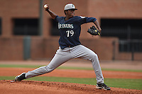 Pulaski Mariners starting pitcher Rigoberto Garcia #79 delivers a pitch during a game against the Greenville Astros at Pioneer Park July 12, 2014 in Greenville, Tennessee. The Mariners defeated the Astros 11-10. (Tony Farlow/Four Seam Images)