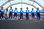 Movistar Team on stage at sign on before the 2019 Gent-Wevelgem in Flanders Fields running 252km from Deinze to Wevelgem, Belgium. 31st March 2019.<br /> Picture: Eoin Clarke | Cyclefile<br /> <br /> All photos usage must carry mandatory copyright credit (© Cyclefile | Eoin Clarke)