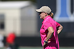 02 October 2016: Duke head coach Pam Bustin. The Duke University Blue Devils hosted the Boston University Terriers at Jack Katz Stadium in Durham, North Carolina in a 2016 NCAA Division I Field Hockey match. Duke won the game 2-1.