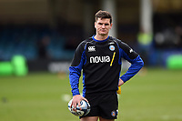 Freddie Burns of Bath Rugby looks on during the pre-match warm-up. Gallagher Premiership match, between Bath Rugby and Harlequins on March 2, 2019 at the Recreation Ground in Bath, England. Photo by: Patrick Khachfe / Onside Images