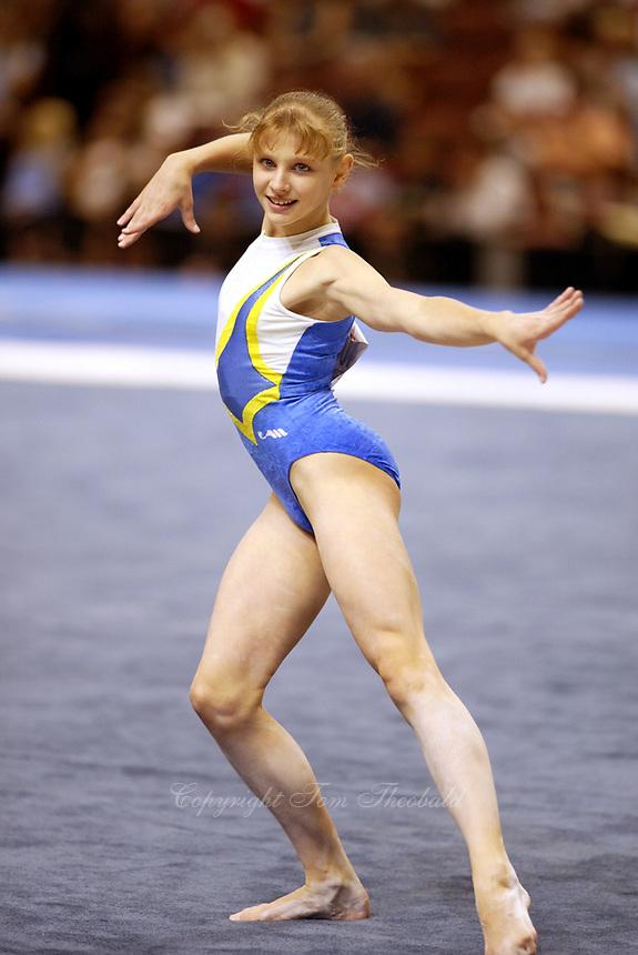 Alina Kozich of Ukraine performs at 2003 World Championships Artistic Gymnastics on August 20th, 2003 at Anaheim, California, USA.