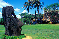 Historic statue on the grounds of the Bishop musuem, near Honolulu, on the Island of Ohau