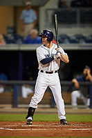 Charlotte Stone Crabs center fielder Jake Stone (21) at bat during a game against the Palm Beach Cardinals on April 20, 2018 at Charlotte Sports Park in Port Charlotte, Florida.  Charlotte defeated Palm Beach 4-3.  (Mike Janes/Four Seam Images)