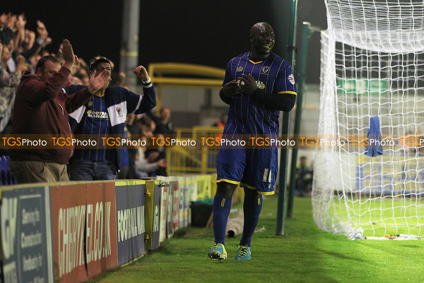 Adebayo Akinfenwa of AFC WImbledon celebrates scoring his 2nd of the game - AFC Wimbledon vs Burton Albion - Sky Bet League Two Football at Kingsmeadow, Kingston upon Thames - 16/09/14 - MANDATORY CREDIT: Simon Roe/TGSPHOTO - Self billing applies where appropriate - contact@tgsphoto.co.uk - NO UNPAID USE