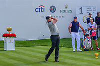 Marc Leishman (AUS) watches his tee shot on 1 during round 2 Four-Ball of the 2017 President's Cup, Liberty National Golf Club, Jersey City, New Jersey, USA. 9/29/2017.<br /> Picture: Golffile | Ken Murray<br /> <br /> All photo usage must carry mandatory copyright credit (&copy; Golffile | Ken Murray)