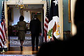 United States President George W. Bush, right, and US Secretary of State Condolezza Rice walk away after Bush made remarks to the press at the State Department, March 24, 2008 in Washington, DC. <br /> Credit: Ken Cedeno / Pool via CNP
