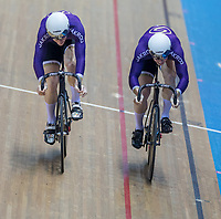 25th January 2020; National Cycling Centre, Manchester, Lancashire, England; HSBC British Cycling Track Championships; Hamish Turnbull <br /> (L) comes over the top of Ali Fielding to win the men's sprint title
