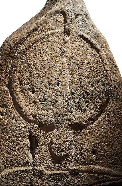 Late European Neolithic prehistoric Menhir standing stone with carvings on its face side. The representation of a stylalised male figure starts at the top with a long nose from which 2 eyebrows arch around the top of the stone. below this is a carving of a falling figure with head at the bottom and 2 curved arms encircling a body above. at the bottom is a carving of a dagger running horizontally across the menhir.  From Barrili I site, Laconi. Menhir Museum, Museo della Statuaria Prehistorica in Sardegna, Museum of Prehoistoric Sardinian Statues, Palazzo Aymerich, Laconi, Sardinia, Italy. White background.