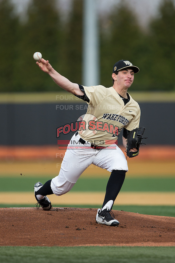 Wake Forest Demon Deacons starting pitcher Morgan McSweeney (35) delivers a pitch to the plate against the UNCG Spartans at David F. Couch Ballpark on February 21, 2017 in  Winston-Salem, North Carolina.  The Demon Deacons defeated the Spartans 15-8.  (Brian Westerholt/Four Seam Images)