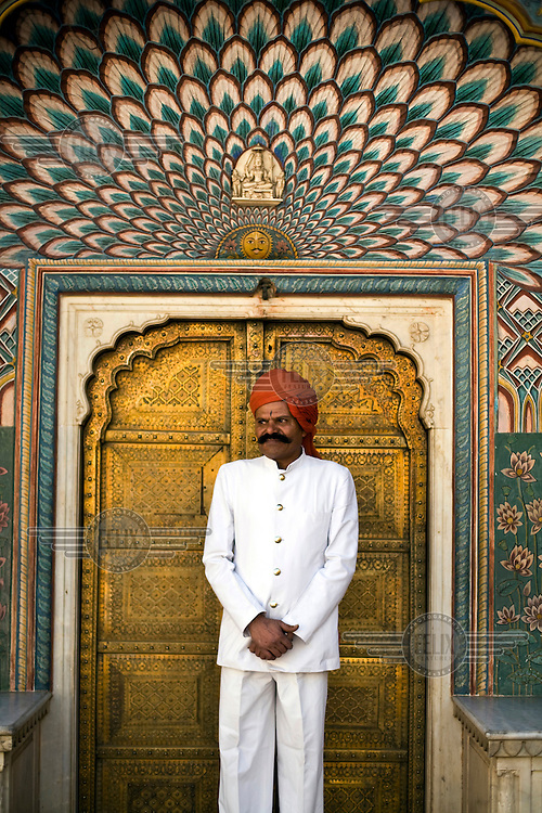 A turbaned guard at the City Palace. The City Palace is a complex of palaces in central Jaipur built between 1729 and 1731 by Jai Singh II, the ruler of Amber.