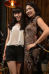 DC Stage, Kaohsiung -- Singer Lien Hsiao-Yun and a fan on stage after a show by Smalls Jazz Combo.