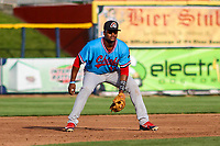 Peoria Chiefs third baseman Elehuris Montero (39) gets into defensive position during a Midwest League game against the Quad Cities River Bandits on May 27, 2018 at Modern Woodmen Park in Davenport, Iowa. Quad Cities defeated Peoria 8-3. (Brad Krause/Four Seam Images)