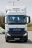 Pictured: The Mercedes Actross truck which will be used by South Wales Police to police roads. Monday 16 April 2018<br /> Re: South Wales Police, in conjunction with Go Safe, have launched Operation Tramline across Wales.<br /> Operation Tramline is an operation taken from Highways England – it equips police forces with a Heavy Goods Vehicle and enables them to carry out patrols of main arterial roads throughout Wales. The vehicle gives operational officers a different perspective, enabling them to better detect dangerous driving.