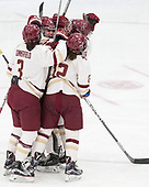Serena Sommerfield (BC - 3), Andie Anastos (BC - 23), Kenzie Kent (BC - 12), Megan Keller (BC - 4) -  The Boston College Eagles defeated the University of Vermont Catamounts 4-3 in double overtime in their Hockey East semi-final on Saturday, March 4, 2017, at Walter Brown Arena in Boston, Massachusetts.