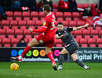 Lincoln City's Jason Shackell scores the opening goal<br /> <br /> Photographer Andrew Vaughan/CameraSport<br /> <br /> The EFL Sky Bet League Two - Swindon Town v Lincoln City - Saturday 12th January 2019 - County Ground - Swindon<br /> <br /> World Copyright &copy; 2019 CameraSport. All rights reserved. 43 Linden Ave. Countesthorpe. Leicester. England. LE8 5PG - Tel: +44 (0) 116 277 4147 - admin@camerasport.com - www.camerasport.com