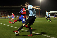 Adam McDonnell of Aldershot Town and Fejiri Okenabirhie of Dagenham  during Dagenham & Redbridge vs Aldershot Town, Vanarama National League Football at the Chigwell Construction Stadium on 10th February 2018
