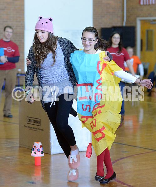 SODYSSEY28P<br /> Celi Quay, left, and Anna Wendell of William Allen Middle School demonstrate their solution to No-Cycle Recycle during the Southeast Pennsylvania Odyssey of the Mind tournament Saturday February 27, 2016 at Pennsbury High School West in Fairless Hills, Pennsylvania. (William Thomas Cain/For The Inquirer)