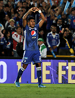 BOGOTÁ-COLOMBIA, 15-01-2020: José Ortiz de Millonarios celebra el gol anotado a Independiente Santa Fe, durante partido entre Millonarios y el Independiente Santa Fe, por el Torneo ESPN 2020, jugado en el estadio Nemesio Camacho El Campin de la ciudad de Bogotá. / Jose Ortiz of Millonarios celebrates a goal scoring to Independiente Santa Fe, during a match between Millonarios and Independiente Santa Fe, for the ESPN Tournament 2020, played at the Nemesio Camacho El Campin stadium in the city of Bogota. Photo: VizzorImage / Luis Ramírez / Staff.