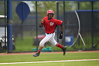 GCL Nationals Jeremy De La Rosa (22) running the bases during a Gulf Coast League game against the GCL Astros on August 9, 2019 at FITTEAM Ballpark of the Palm Beaches training complex in Palm Beach, Florida.  GCL Nationals defeated the GCL Astros 8-2.  (Mike Janes/Four Seam Images)