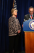 Washington, DC - November 14, 2002 -- United States Senator Hillary Rodham Clinton (Democrat of New York), left, and United States Senator Chuck Schumer (Democrat of New York), right, hold a press conference with United States Senator Jon Corzine (Democrat of New Jersey) in the United States Capitol in Washington, DC on November 14, 2002. The 3 senators called for the inclusion of a 9/11 Investigative Commission in the Homeland Security Bill. .Credit: Ron Sachs / CNP