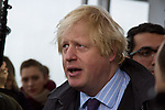 LONDON, ENGLAND - FEBRUARY 01 2013: Boris Johnson, Mayor of London, at The View at The Shard public viewing deck opening - Western Europe's tallest building on (Photo by Dave Horn - Extreme Aperture Photography)