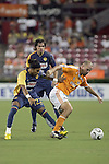 25 July 2007:  Craig Waibel (16)  of the Dynamo shields the ball from Alvin Mendoza (22) of Club America.  Club America was defeated by the Houston Dynamo 0-1 at Robertson Stadium in Houston, Texas, in a first round SuperLiga 2007 match.