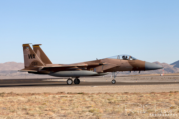 An F-15 Eagle of the 57th Adversary Tactics Group based at Nellis AFB. The 57th ATG was formed on 1 July 2005 with the objective of consolidating all Aggressor activities under one organization to provide the Combat Air Forces with the opportunity to train against a realistic, fully integrated threat.