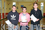 St. Michael's College, Listowel ; pictured at St. michael's College after receiving their leaving Cert results were Jack Dillon, Eddie Sheehy & David Carmody.