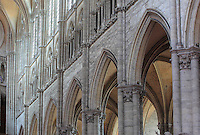 The great arches of the the nave looking towards the main Western facade, in the Basilique Cathedrale Notre-Dame d'Amiens or Cathedral Basilica of Our Lady of Amiens, built 1220-70 in Gothic style, Amiens, Picardy, France. The nave is 42.3m high. Amiens Cathedral was listed as a UNESCO World Heritage Site in 1981. Picture by Manuel Cohen