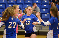 NWA Democrat-Gazette/BEN GOFF @NWABENGOFF<br /> Hope Johnson (22) and her Rogers teammates celebrate a point on Thursday Aug. 27, 2015 during the match at Rogers High.