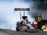 Mar 13, 2015; Gainesville, FL, USA; NHRA top fuel driver Spencer Massey during qualifying for the Gatornationals at Auto Plus Raceway at Gainesville. Mandatory Credit: Mark J. Rebilas-