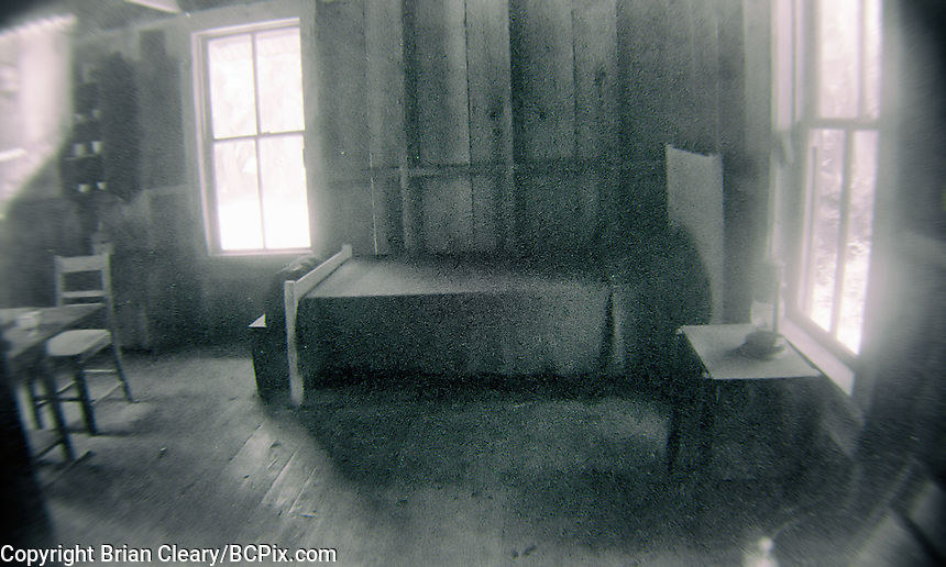 Interior view, Damkohler House, built in 1882, Koreshan State Park, Koreshan Unity Settlement Historic site, Estero, FL  July 2018. Shot with a Canon EOS 650 35mm SLR camera on Kodak T-Max 400 film. (Photo by Brian Cleary/ www.bcpix.com )