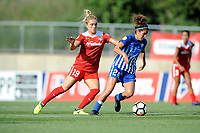 Boyds, MD - Saturday August 12, 2017: Kristie Mewis, Angela Salem during a regular season National Women's Soccer League (NWSL) match between the Washington Spirit and The Boston Breakers at Maureen Hendricks Field, Maryland SoccerPlex.