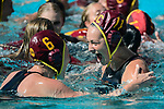 LOS ANGELES, CA - MAY 13: Maud Megens #6 and Brianna Daboub #11 of the University of Southern California cheer after winning the Division I Women's Water Polo Championship held at the Uytengsu Aquatics Center on the USC campus on May 13, 2018 in Los Angeles, California. USC defeated Stanford 5-4. (Photo by Tim Nwachukwu/NCAA Photos via Getty Images)