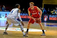 GRONINGEN - Basketbal, Donar - Aris, Dutch Baketball League, seizoen 2018-2019, 10-10-2018,  Donar speler  met Aris speler Sjoerd Koopmans