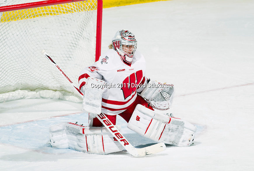 Wisconsin Badgers goalie Alex Rigsby (33) during an NCAA women's hockey game against the Minnesota Golden Gophers on October 14, 2011 in Madison, Wisconsin. The Badgers won 3-2. (Photo by David Stluka)