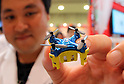 "June 9, 2016, Tokyo, Japan - An employee of Japanese toy maker CCP displays the world's smallest radio controlled toy drone ""PicoDrone"", 3cm in length and weighing only 7g at the annual Tokyo Toy Show in Tokyo on Thursday, June 9, 2016. Some 160,000 people are expecting to visit the four-day toy trade show.   (Photo by Yoshio Tsunoda/AFLO) LWX -ytd-"