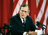 United States President George H.W. Bush makes remarks during a joint press conference with President Mikhail Gorbachev of the Union of Soviet Socialist Republics, at the conclusion of their summit in the East Room of the White House in Washington, DC on Sunday, June 3, 1990.  <br /> Credit: Ron Sachs / CNP