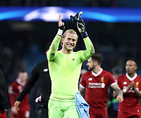 Liverpool's Loris Karius celebrates at the final whistle<br /> <br /> Photographer Rich Linley/CameraSport<br /> <br /> UEFA Champions League Quarter-Final Second Leg - Manchester City v Liverpool - Tuesday 10th April 2018 - The Etihad - Manchester<br />  <br /> World Copyright &copy; 2017 CameraSport. All rights reserved. 43 Linden Ave. Countesthorpe. Leicester. England. LE8 5PG - Tel: +44 (0) 116 277 4147 - admin@camerasport.com - www.camerasport.com