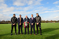 From left, Lincoln City manager Danny Cowley, Lincoln City's chief executive Liam Scully, The Football Association's director of professional game relations, Andy Ambler, Lincoln City's vice-chairman Roger Bates and Lincoln City's assistant manager Nicky Cowley outside Lincoln City's new Elite Performance Centre<br /> <br /> Photographer Chris Vaughan/CameraSport<br /> <br /> The official opening of Lincoln City's new Elite Performance Centre - Wednesday 7th November 2018 - Scampton, Lincolnshire<br /> <br /> World Copyright © 2018 CameraSport. All rights reserved. 43 Linden Ave. Countesthorpe. Leicester. England. LE8 5PG - Tel: +44 (0) 116 277 4147 - admin@camerasport.com - www.camerasport.com