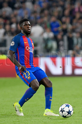 April 11th 2017, Juventus Stadium, Turin, Italy; UEFA Champions league football quarterfinal, leg 1, Juventus versus Barcelona; Samuel Umtiti on the ball