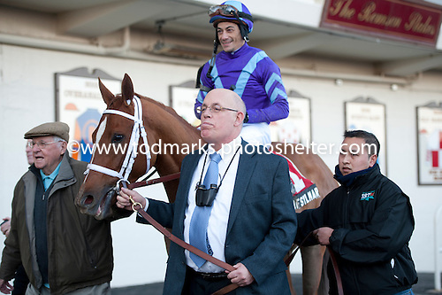 Owner Ed Stanco leads Princess of Sylmar to the Aqueduct winner's circle after the Busanda Stakes on Jan. 5