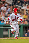 21 May 2018: Washington Nationals outfielder Juan Soto, making his first Major League start, in action against the San Diego Padres at Nationals Park in Washington, DC. The Nationals defeated the Padres 10-2, taking the first game of their 3-game series. Mandatory Credit: Ed Wolfstein Photo *** RAW (NEF) Image File Available ***