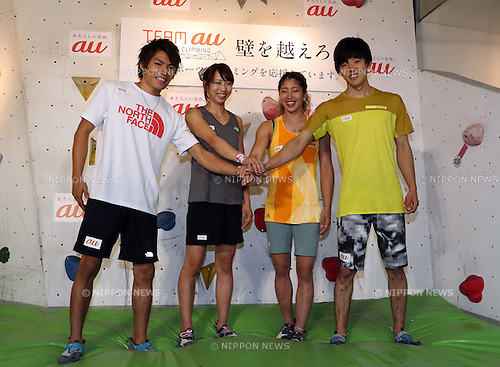 "August 9, 2016, Tokyo, Japan - Japan's  top sport-climbing athletes (L-R) Tomoa Narasaki, Akiyo Noguchi, Miho Nonaka and Kokoro Fujii smile as they form the ""Team au"", supported by KDDI at a presentation in Tokyo on Tuesday, August 9, 2016. IOC decided recently that sport-climbing would be one of the eight sports for the Tokyo 2020 Olympic Games additional events.    (Photo by Yoshio Tsunoda/AFLO) LWX -ytd-"