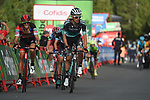 Rafal Majka (POL) Bora-Hansgrohe and Alessandro De Marchi (ITA) BMC Racing Team approach the finish line on the final climb of Stage 19 of the La Vuelta 2018, running 154.4km from Lleida to Andorra, Naturlandia, Andorra. 14th September 2018.                   <br /> Picture: Colin Flockton | Cyclefile<br /> <br /> <br /> All photos usage must carry mandatory copyright credit (© Cyclefile | Colin Flockton)
