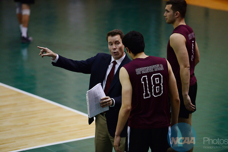 26 Apr 2015:  Springfield College Pride head coach Charlie Sullivan talks with Joseth Irizarry Feliciano (18) during the Division III Men's Volleyball Championship at Canavan Arena in Hoboken, NJ. Stevens Institute  defeated Springfield College 3-0 to win the national title.  Porter Binks/NCAA Photos