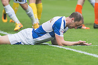 Mark McChrystal of Bristol Rovers despairs after a missed chance during the Sky Bet League 2 match between Bristol Rovers and Dagenham and Redbridge at the Memorial Stadium, Bristol, England on 7 May 2016. Photo by Mark  Hawkins / PRiME Media Images.