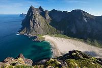 Mountain view over isolated Horseid beach, Moskenesøy, Lofoten Islands, Norway